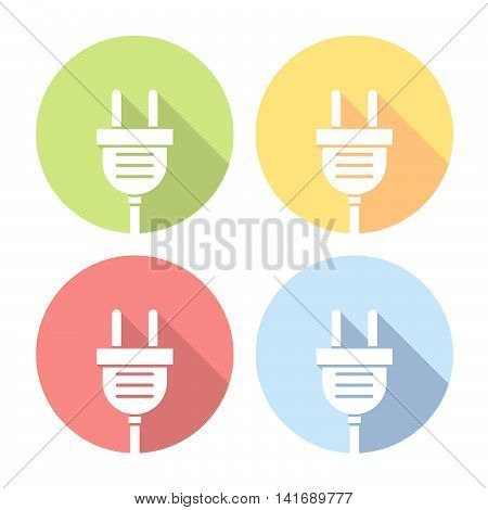 Electrical Device Plug Flat Icons Set