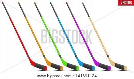 Set of Classic Ice Hockey sticks in different color. Sport equipment symbol. Vector Illustration isolated on white background
