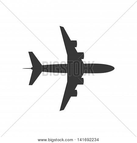 airplane silhouette travel transporation flying icon. Isolated and flat illustration. Vector graphic
