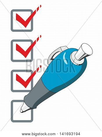 Blue ballpoint pen ticking the boxes on a checklist in isolated stylized clipart illustration.
