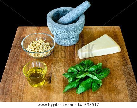 Making Of Homemade Pesto Genovese With All Ingredients