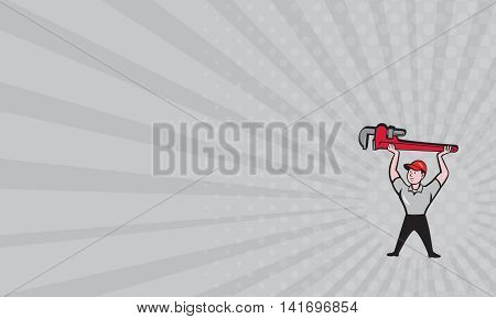 Business card showing illustration of a plumber lifting giant monkey wrench over head looking to the side viewed from front set on gray sunburst background done in cartoon style.