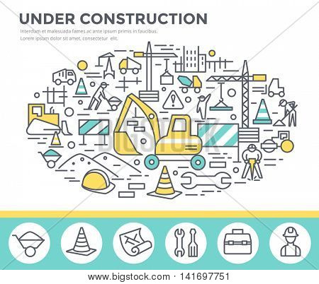 Under construction, building business concept illustration, thin line, flat design