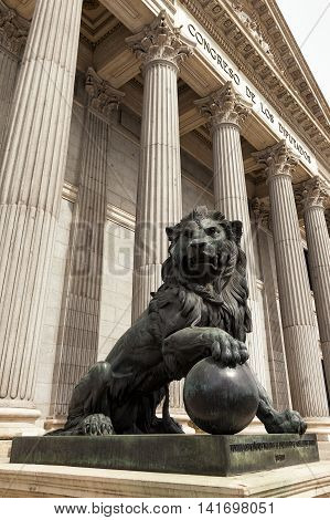 Lion at the entrance of the Spanish Parliament (Congreso de los Diputados)
