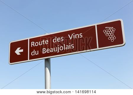 Road of Beaujolais wine sign in France
