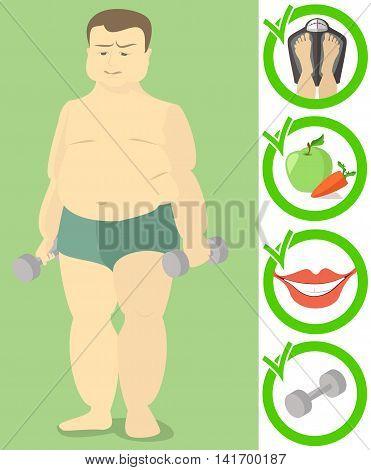 fat man Caucasian exercise good habits, flat , health