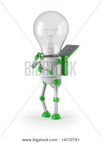 renewable energy - light bulb robot thinking