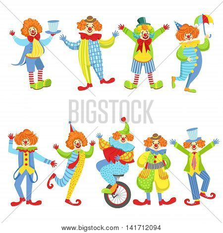 Collection Of Colorful Friendly Clowns In Classic Outfits. Childish Circus Clown Characters Performing In Costumes And Make Up.