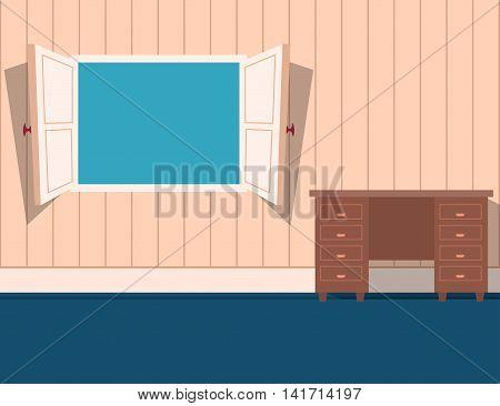 Cartoon style open window in a room