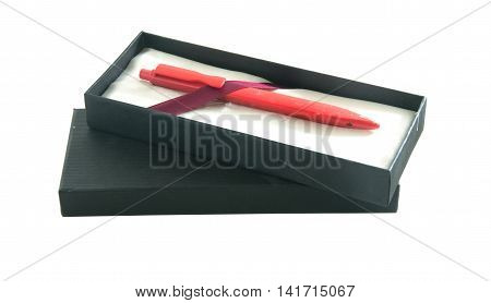 red pen gift box isolated white background