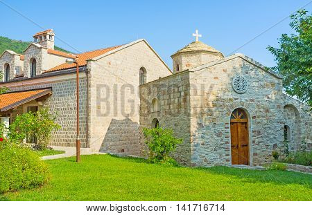 The renovated chapel of the former Podmaine Monastery complex next to St Petka Church Budva Montenegro.