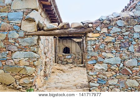 The view on the old oven located in the yard Fikardou Cyprus. poster