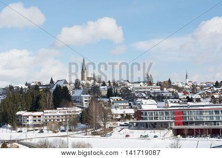 Spa town of Bad Leonfelden in winter sunshine
