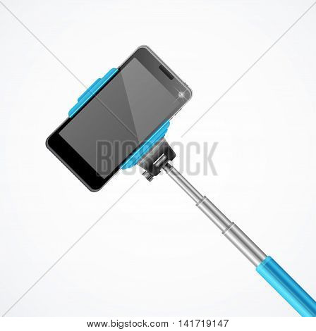 Monopod Selfie Front Blue. Trend Equipment. Vector illustration