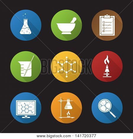 Chemical lab icons flat design long shadow icons set. Science laboratory. Beaker with rod, chemical reaction, mortar and pestle, tests checklist, lab burner, molecular structure. Vector symbols