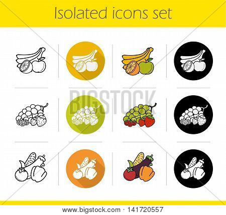 Grocery store products categories icons set. Flat design, linear, black and color styles. Fruit, vegetables and berries. Isolated vector illustrations
