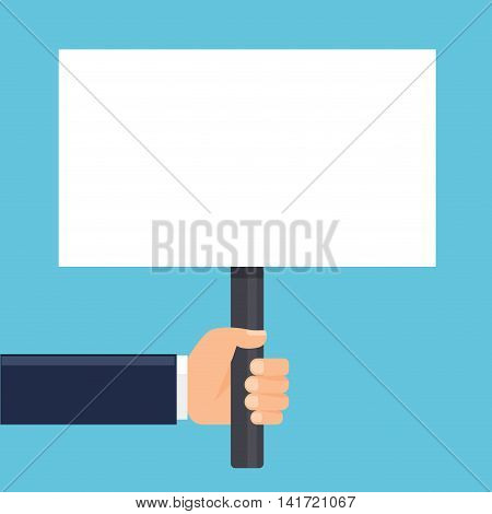 hand holding a sign or blank poster. Horizontal format. Flat style. Vector illustration