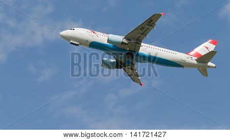 Moscow region - 31 July 2016: large passenger aircraft Airbus A 320-214 Austrian Airlines flies to Moscow's Domodedovo airport July 31 2016 Moscow Region Russia
