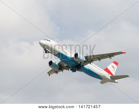 Moscow region - 31 July 2016: passenger plane Airbus A-320-214 Austrian Airlines flies to Domodedovo airport July 31 2016 Moscow Region Russia