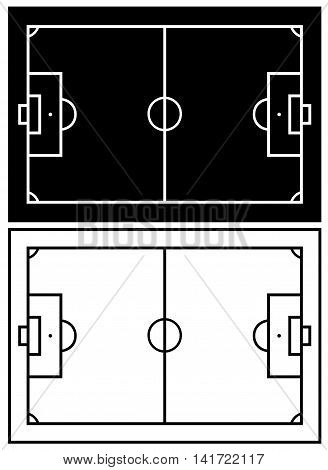 Black and white soccer field isolated on white