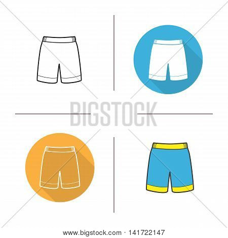 Shorts icon. Flat design, linear and color styles. Blue swimming trunks. Isolated vector illustrations