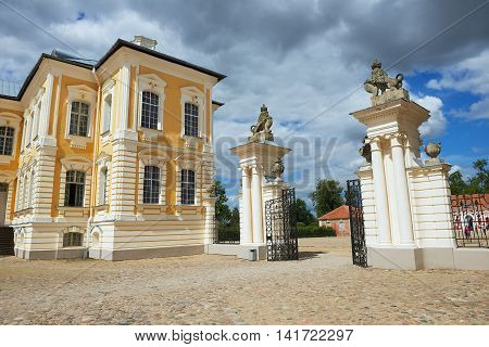 PILSRUNDALE, LATVIA - JULY 27, 2015: Exterior of the entrance gate to Rundale palace in Pilsrundale, Latvia.