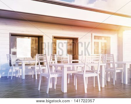 Restaurant yard view with posters in windows tables and chairs on wooden floor. Concept of family business promotion. 3d rendering. Mock up. Toned image