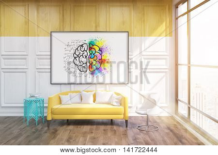 Whiteboard with sketch of brain on it. Blue coffe table in corner. Large yellow sofa by its side. Concept of comfortable accommodation. 3d rendering. Toned image.