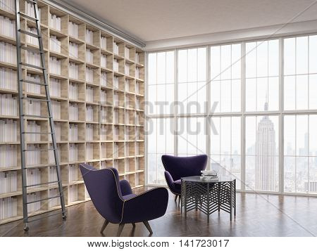 House Library In Skyscraper Apartment