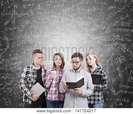 College Students Near Blackboard