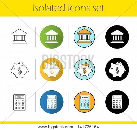 Banking and finance icons set. Flat design, linear, black and color styles. Bank building, courthouse, piggy bank with dollar coin, calculator. Isolated vector illustrations