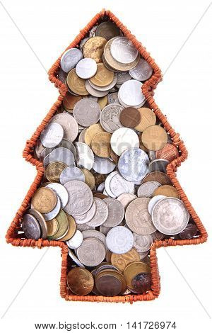 Old European Coins As Christmas Tree