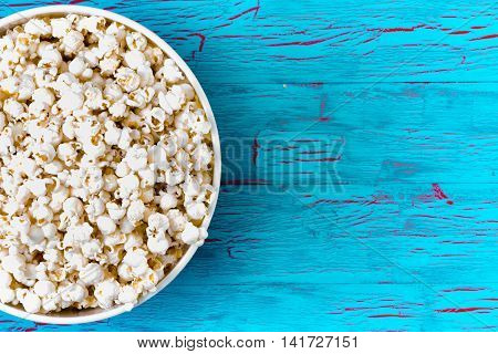 Bowl Of Freshly Made Popcorn On A Picnic Table