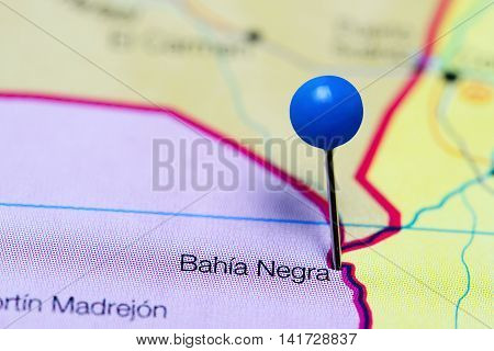 Bahia Negra pinned on a map of Paraguay