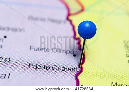 Puerto Guarani pinned on a map of Paraguay
