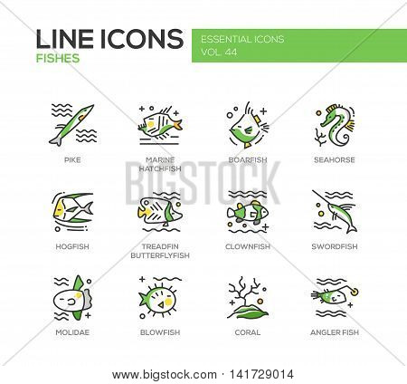 Fishes - set of modern vector line design icons and pictograms. Pike, marine hatchfish, boarfish, seahorse, hogfish, treadfin butterflyfish, clownfish, swordfish, molidae, blowfish coral angler fish