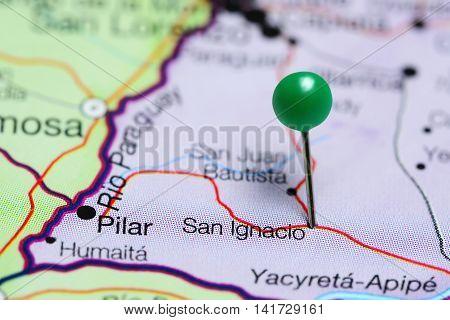 San Ignacio pinned on a map of Paraguay