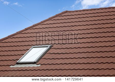 Stone Coated Metal tile Roof with skylight (roof window)