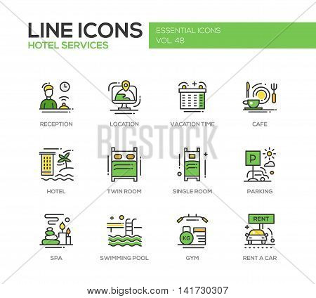 Hotel services - set of modern vector line design icons and pictograms. Reception, location, vacation time, cafe, twin, single room, parking, spa, swimming pool, gym, rent a car