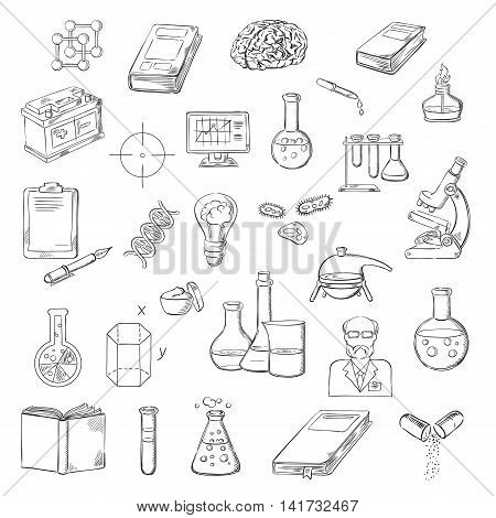 Scientist with sketch symbols of microscope, laboratory test tubes and flasks, books, computer and clipboard with pen, human brain, DNA and molecules, lab burner, battery and geometric models, idea light bulb and pills