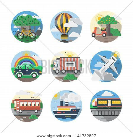 Set of samples for mode of transport. Vehicles for travel and transportation. Cars, bus, airplanes and other. Round detailed flat color style vector icons collection.