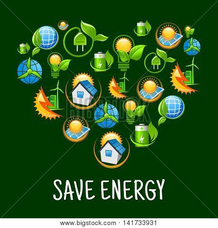Green energy heart symbol with pattern of light bulbs with leaves, suns, solar panels and wind turbines, green plants with plugs, batteries and earth globes, smart houses and wind energy farms icons
