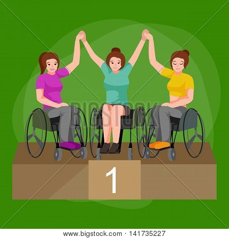 Disabled people On Wheelchair winning in sport game for handicapped, disability sport vector illustration