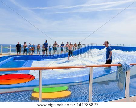 Barselona, Spaine - September 12, 2015: The cruise ship Allure of the Seas, The Royal Caribbean International. Exterior views of the ship - amusement artificial wave