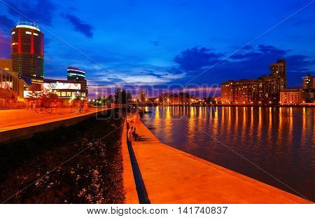Russian Ural town Yekaterinburg skyline at night time
