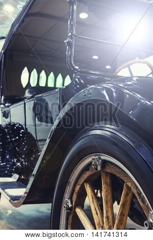 1910 style antique retro car with toning and light