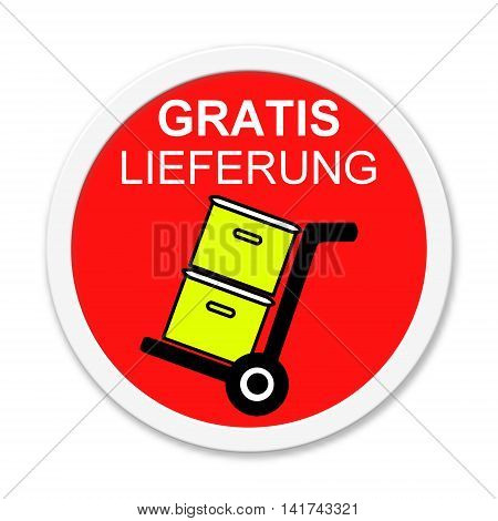 Red isolated Button shows Free Delivery in german language