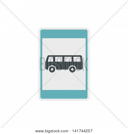 Bus stop sign icon in flat style on a white background