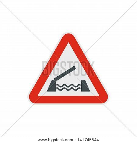 Lifting bridge warning sign icon in flat style on a white background