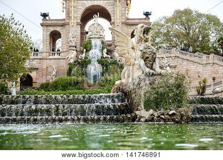 Barcelona Spain - April 4 2016: The Cascada fountain built on 1888. Fountain located in the Ciutadella Park one of the finest parks in Barcelona. Spain